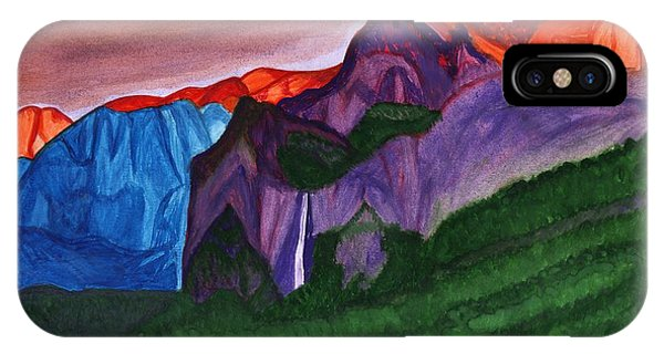 Snowy Peaks Of The Mountains With A Waterfall Lit Up By The Orange Dawn IPhone Case