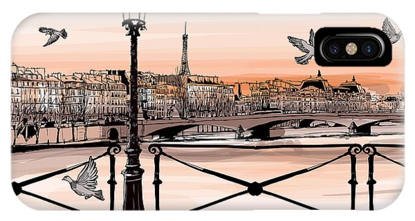 The Louvre iPhone Case - Sunset On Seine River From Pont Des by Isaxar