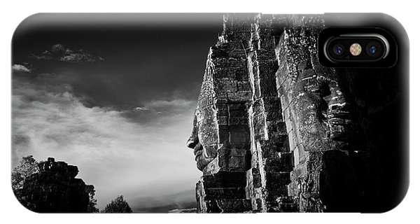 Angkor Thom iPhone Case - Sunset Over A Smiling Face At Temple by Panoramic Images