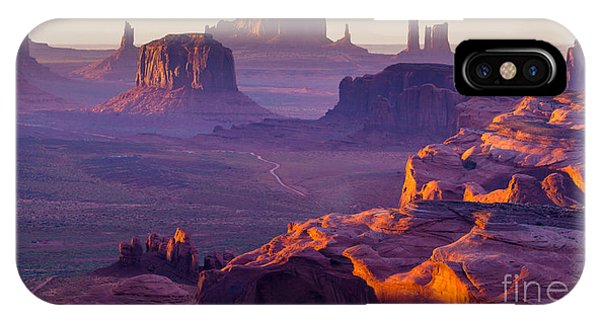 Rock Formation iPhone Case - Sunset Over The Hunts Mesa by Ronnybas Frimages