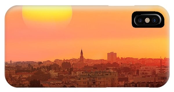 Old Building iPhone Case - Sunset Over The Town.old City Of Tel by Protasov An