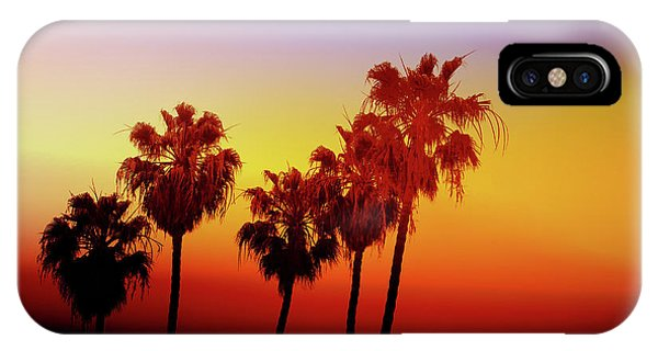 Orange Sunset iPhone Case - Sunset Palm Trees- Art By Linda Woods by Linda Woods