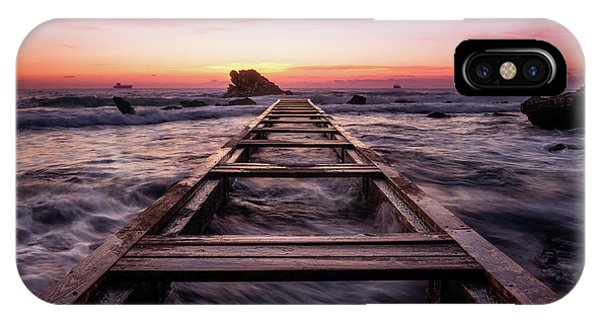 Sunset Shining Over A Wooden Pier In Livorno, Tuscany IPhone Case