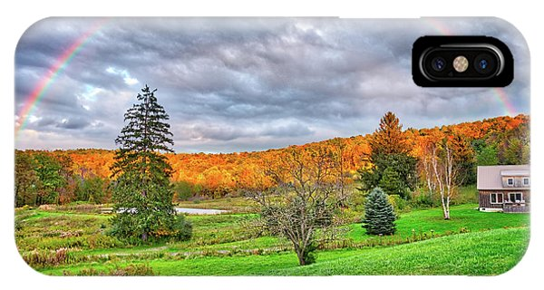 IPhone Case featuring the photograph Sunset Storm Rainbow - Upstate New York by Lynn Bauer