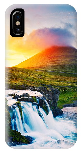 Spring Mountains iPhone Case - Sunset Waterfall. Amazing Nature by Epicstockmedia