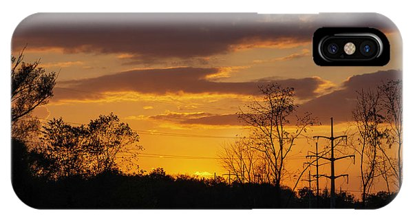 Sunset With Electricity Pylon IPhone Case