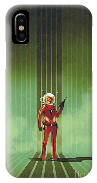 Strength iPhone Case - Super Hero In Red Suit Holding Gun Over by Tithi Luadthong