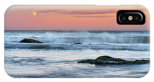 IPhone Case featuring the photograph Super Moon And Sunset At Sozopol Town Beach by Milan Ljubisavljevic
