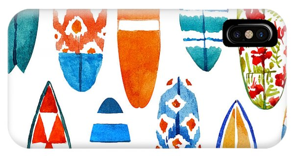 Fins iPhone Case - Surfboard Watercolor Seamless Pattern by Nicetoseeya
