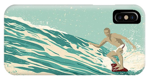 Surfboard iPhone Case - Surfer And Big Wave. Vector by Jumpingsack
