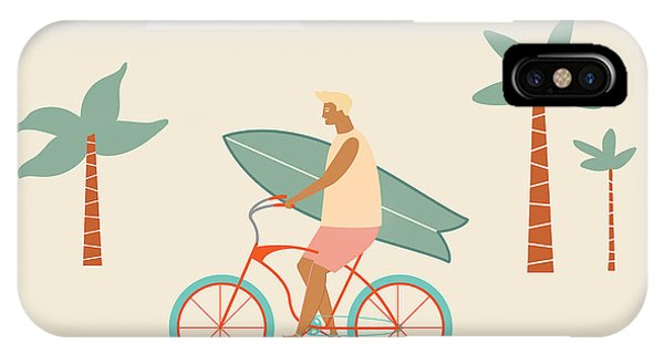 Surfboard iPhone Case - Surfer Bicycle Rider With Surfboard On by Nicetoseeya