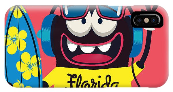 Surfboard iPhone Case - Surfer Monster by Braingraph