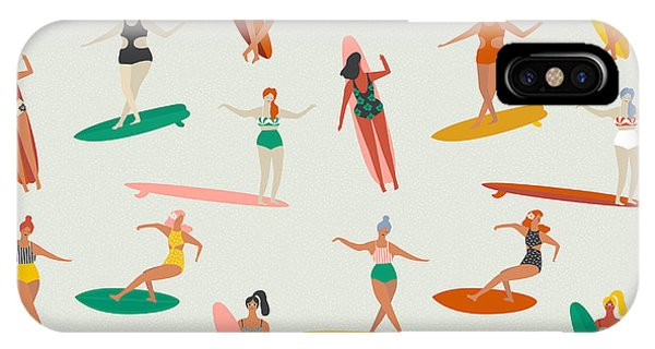 Surfboard iPhone Case - Surfing Illustration In Vector. Girl by Nicetoseeya