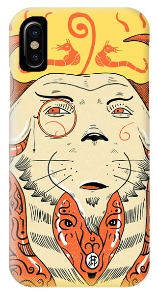 IPhone Case featuring the drawing Surreal Cat by Sotuland Art