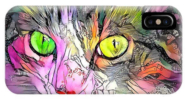 Surreal Cat Wild Eyes IPhone Case