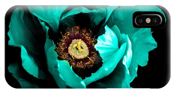 Surrealistic iPhone Case - Surreal Dark Chrome Cyan Peony Flower by Boxerx