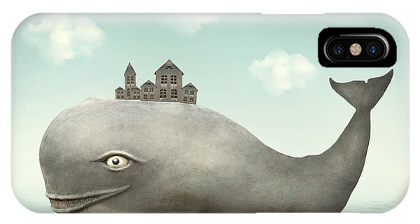 Grey Skies iPhone Case - Surreal Illustration Of A Whale In The by Valentina Photos