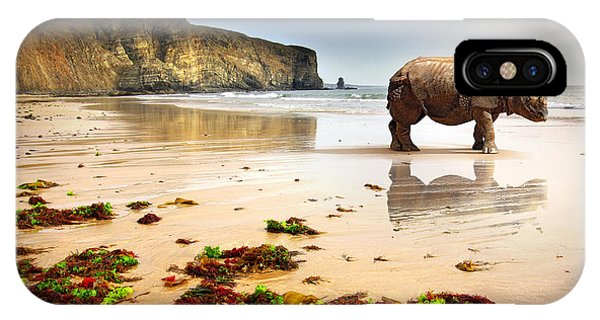 Red Sky iPhone X Case - Surreal Scene Of A Big Rhinoceros In An by Carlos Caetano
