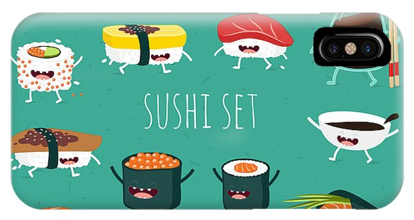 Ingredient iPhone Case - Sushi Set. Soy Sauce And Sushi Roll by Serbinka