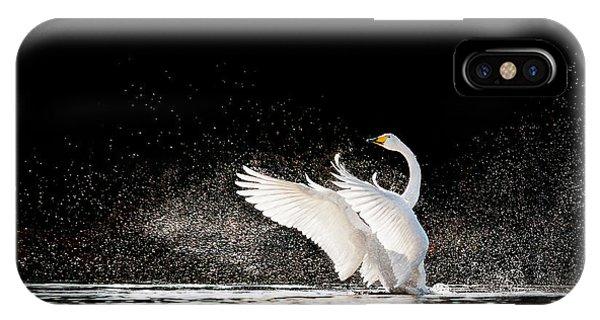 Swan iPhone Case - Swan Rising From Water And Splashing by Tero Hakala