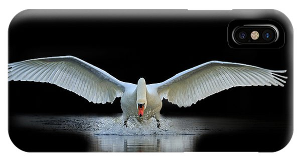 Swan iPhone Case - Swan With Open Wings, A Unique Moment by Drakuliren
