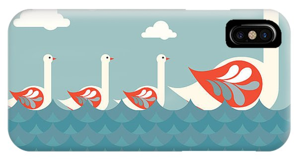 Cloudscape iPhone Case - Swans Vectorillustration by Lyeyee