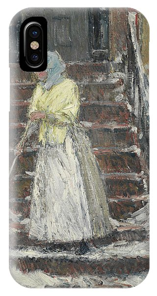 Brownstone iPhone Case - Sweeping Snow by Childe Hassam