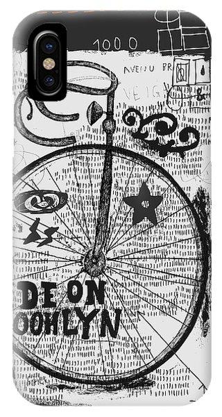 Biker iPhone Case - Symbolic Image Of Sports Bike Graffiti by Dmitriip