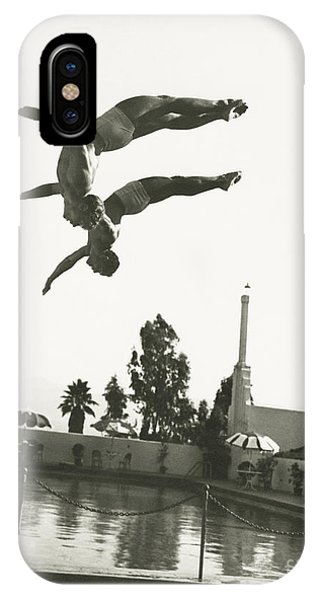 Hobby iPhone Case - Synchronized Divers In Mid-air by Everett Collection