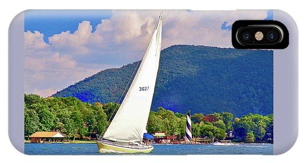Tacking Lighthouse Sailor, Smith Mountain Lake IPhone Case