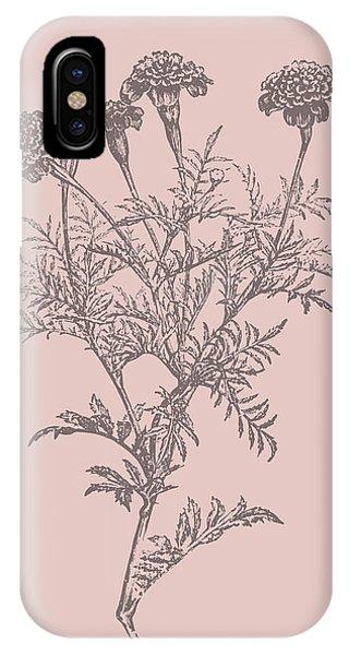 Bouquet iPhone X Case - Tagetes Patula Blush Pink Flower by Naxart Studio