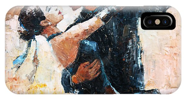 Argentina iPhone X Case - Tango Dancers Digital Painting, Tango by Maria Bo