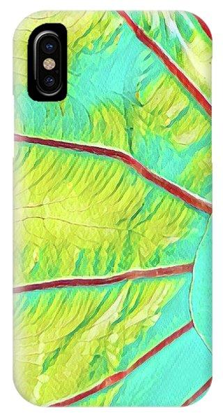 Taro Leaf In Turquoise  IPhone Case