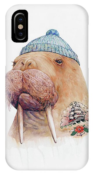 Whimsical iPhone X Case - Tattooed Walrus by Animal Crew