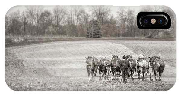 Amish iPhone Case - Team Of Six Horses Tilling The Fields by Tom Mc Nemar