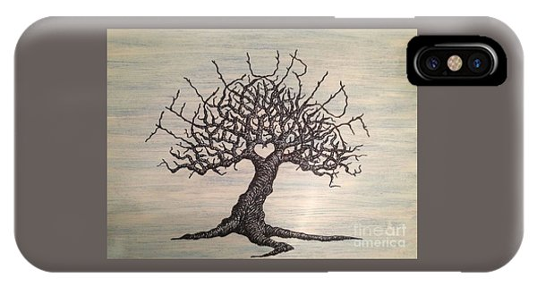 IPhone Case featuring the drawing Telluride Love Tree by Aaron Bombalicki