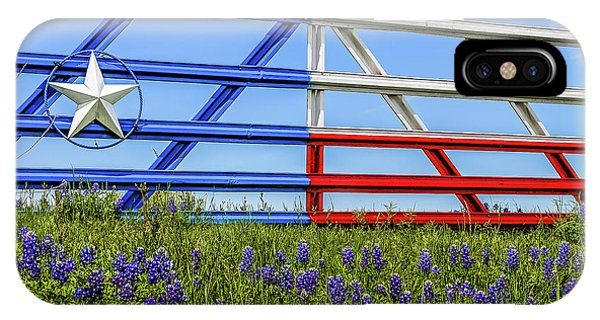 Texas Flag Painted Gate With Blue Bonnets IPhone Case