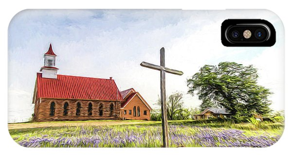 Old Rugged Cross iPhone Case - Texas Hill Country Church - Digital Painting by Stephen Stookey