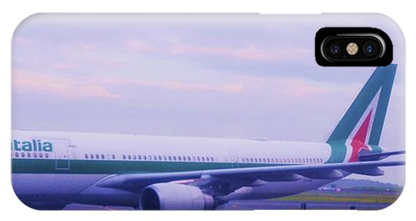 Alitalia iPhone Case - The Alitalia From Rome Landing At Logan, Boston by Marcus Dagan