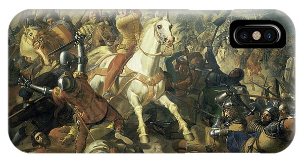 King Charles iPhone Case - The Battle Of Mons-en-pevele, 1304 by Charles-Philippe Lariviere