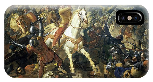 King Charles iPhone Case - The Battle Of Mons En Puelle by Charles-Philippe Lariviere