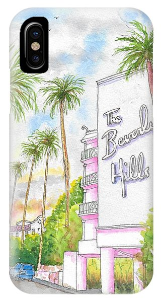 Street Sign iPhone Case - The Beverly Hills Hotel In Sunset Blvd., Beverly Hills, California by Carlos G Groppa