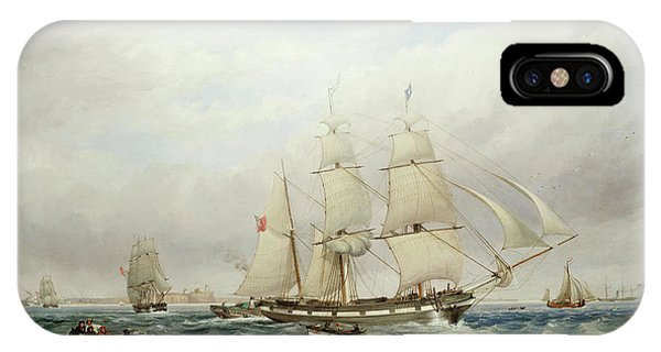 Harrison iPhone Case - The Brigantine Mary Off Tynemouth, With A Paddle Tug And Other Shipping by Thomas Harrison Hair