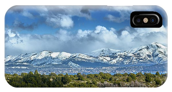 The City Of Bariloche And Landscape Of Snowy Mountains In The Argentine Patagonia IPhone Case