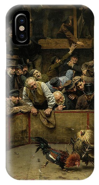 Gamecocks iPhone Case - The Cockfight, 1889 by Remy Cogghe