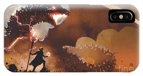 IPhone Case featuring the painting The Dragon Wizard by Tithi Luadthong