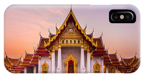Culture iPhone Case - The Famous Marble Temple Benchamabophit by Pumidol
