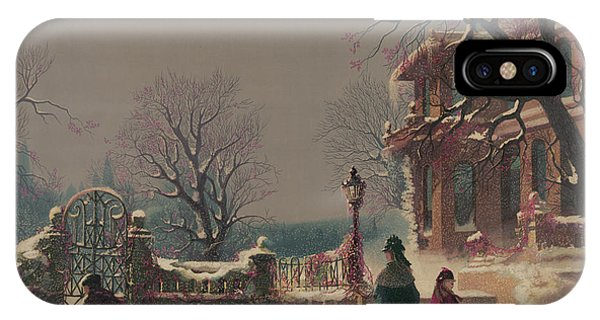 Sled Dog iPhone Case - The First Snow, 1877 by CF Witman