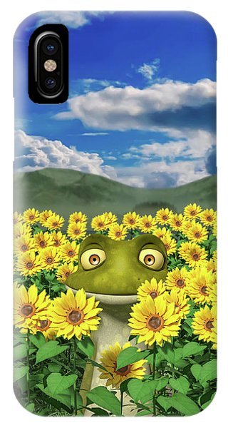 Sunflower iPhone Case - The Friendly Frog by Betsy Knapp