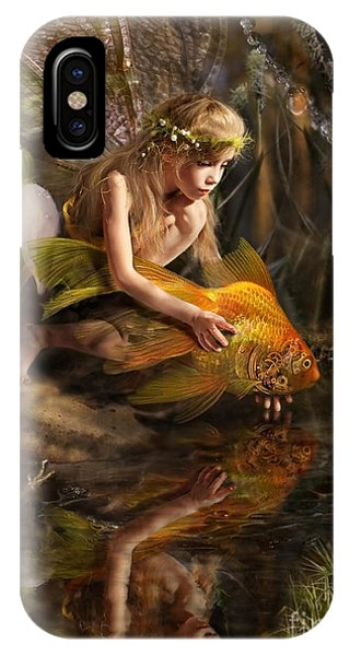 Fairy Tales iPhone Case - The Girl Releases A Gold Fish by Liliya Kulianionak